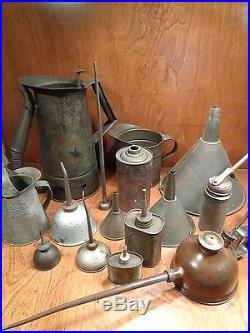 14 Vintage Oil Can MIX Lot Tin, Metal, Oilers, Spout Squirter, Pitcher