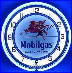 18 Vintage MOBILGAS Metal Sign Double Neon Wall Clock Mobil Gas Station Oil