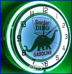 18 Vintage SINCLAIR Metal Sign Double Neon Wall Clock Dino Oil Gas Pump Station