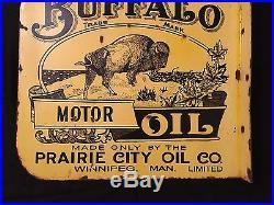1940's Vintage Porcelain Buffalo Motor Oil With Flange 2 Sided Enamel Sign