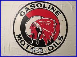 1940's Vintage Porcelain Red Indian Motor Oil Gasoline 2 Sided Enamel Sign