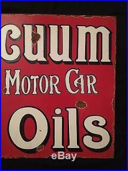 1940's Vintage Porcelain Vaccum Motor Oils With Flange 2 Sided Enamel Sign
