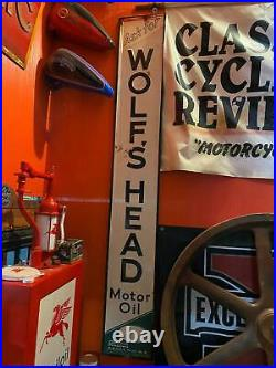 1964 Vintage Tin Sign Embossed Wolfs Head Oil Gas 81 Service Station Man Cave
