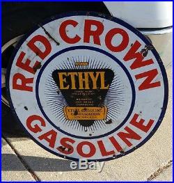 30 Vintage Sign Red Crown Ethyl Oil Gas Double Sided Porcelain original
