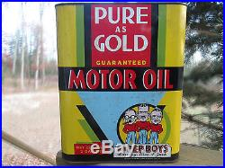 Antique 2gal Pep Boys Motor Oil Tin Litho Can Pure As Gold Vintage Gas Station