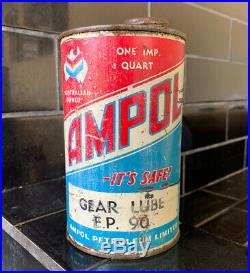 Ampol Chevron 1 Quart Vintage Gearlube Collectable Oil Tin