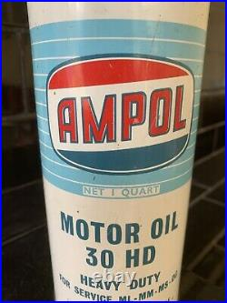 Ampol Light Blue Tall Quart Vintage Collectable Oil Tin