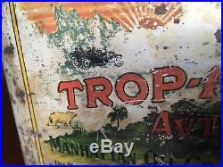 Antique Manhattan Trop-Artic Graphic Motor Oil Can Vintage Original Gas Sign Old