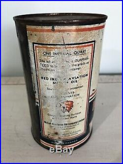 Antique Red Indian Imperial Quart Motor Oil Tin Can Gas Sign Cans Vintage