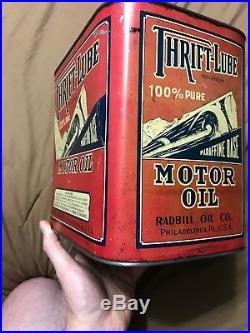 Antique Vintage 2 Gallon Thrift-Lube Radbill Oil Co Motor Oil Can