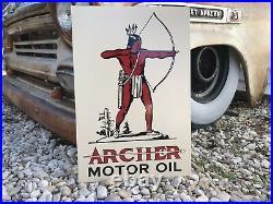 Antique Vintage Old Style Archer Motor Oil Sign