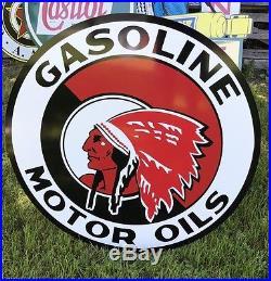 Antique Vintage Old Style Red Indian Motor Oil Sign! 36