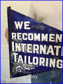 Antique Vtg porcelain sign Jeans Clothes Tailoring Clothing Flange Sign Oil Feed