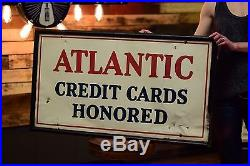 Atlantic Early Gas Station Sign vintage Credit Cards Oil Service Garage Tin Adv