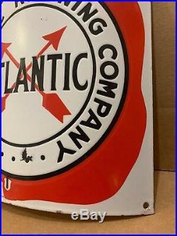 Atlantic Porcelain Pump Plate Sign Vintage Original Curved Fried Egg Gas Oil