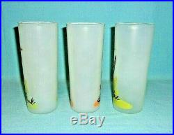 Blakely Gas & Oil Vintage Promotional Frosted Cactus Glasses Tumblers. 6 PIECES