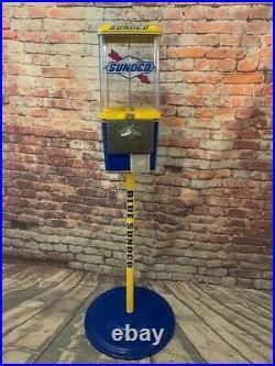 Blue SUNOCO OIL gas pump gasoline vintage gumball machine + stand