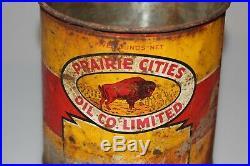 Buffalo Oil Can Vintage Antique Tin Prairie Cities Oil Co Winnipeg Manitoba