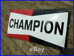 CHAMPION porcelain sign advertising vintage tuning 24 oil old gas USA racing