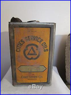CITIES SERVICE Crew Levick Philadelphia Square 5 Gal Vintage Advertising Oil Can