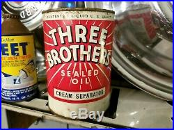 CRAZY RARE FULL Vtg THREE BROTHERS CREAM SEPARATOR OIL 1qt Tin Can 3 Bros NOS