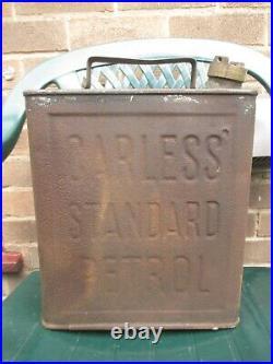 Carless Standard Petrol 2 Gallon Petrol Oil Fuel Can Tin Vintage