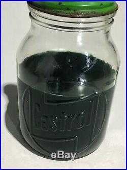 Castrol Glass Pint oil bottle 20w30. Vintage Collectible Metal Pourer & Cap tin