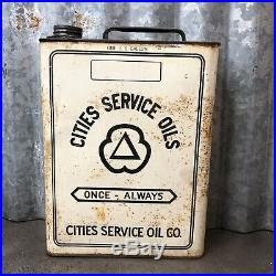 Cities Service One Gallon Oil Can Metal Vintage Antique Old