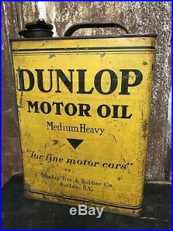 Dunlop Buffalo NY MOTOR OIL 1 GALLON CAN Tin Gal One Garage Old Vintage Shop Wow
