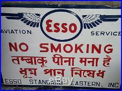 Esso Aviation Service No Smoking Vintage Airplane Oil Gas Porcelain Enamel Sign