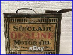 Early Vintage Sinclair Opaline Motor Oil 1 Gallon Can / Gas Oil / Sign / Soda