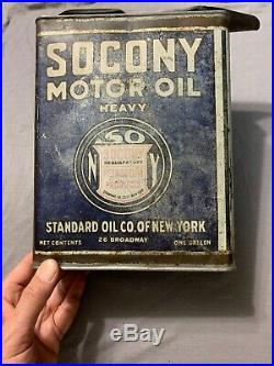 Early Vintage Socony Standard Motor Oil Company NY One Gallon Can