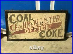 Early Wooden ORIGINAL VinTagE COAL & COKE OFFICE Sign Gas Oil Store Office Decor