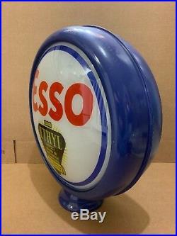 Esso Gas Pump Globe Vintage Original Glass Ethyl Oil Garage Pub Bar Decor Light