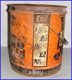 FIRESTONE Motor Oil CAN VINTAGE 1930's FIVE GALLON Pail