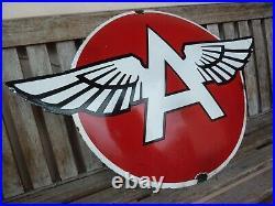 FLYING A porcelain sign 29 heavy convex vintage gasoline oil advertising US