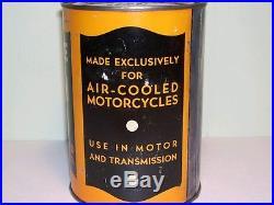 FULL 1940'S VINTAGE HARLEY DAVIDSON MOTORCYCLE MOTOR OIL Old 1 qt. Tin Can