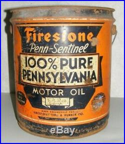 Firestone MOTOR OIL CAN 5 GALLON PAIL AUTHENTIC VINTAGE Penn-Sentinel