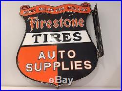 Firestone Tires Auto Supply's Flange Sign Steel Thick Porcelain Vintage Gas Oil