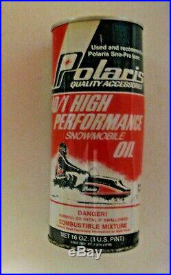 Full Can Of Vintage Polaris High Performance Snowmobile Oil Advertising Oil Can