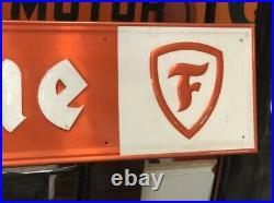 GUARANTEED ORIGINAL 6' Vintage FIRESTONE TIRE Sign Gas Oil Embossed Metal OLD