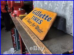 Gillette Tire Rack Display Sign Vintage 1930s Gas Oil Station