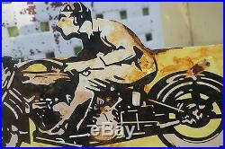 Good Year Motorcycle Metal Flange Sign Vintage Porcelain Gas Sign Lubester Oil