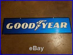 Good Year Tires 2 sided Metal Sign Oil Gas Station Credit Card Vintage Original