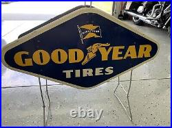 Good Year Tires Rack Display Sign Double Sided Vintage 1960 Metal Gas Oil Garage