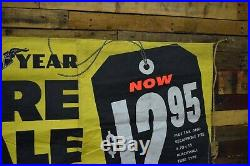 Goodyear Tires Gas Oil Station Cloth Banner Dealership Auto Garage Sign VINTAGE
