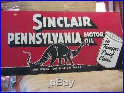 HUGE Vintage Sinclair Gasoline Sign Dino Dinosaur Antique 48 x 24 Oil 9874