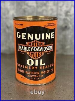 Harley-Davidson Motorcycle Quart Oil Can Vintage Metal Full 1930s Lead Seam