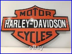 Harley Davidson Motorcycles Sign Steel Thick Porcelain Vintage Gas Oil Americana