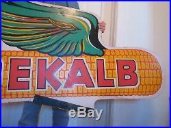 Huge Large VINTAGE DEKALB ADVERTISING SIGN Ear of Corn Seed Feed Gas Oil Farm Ag